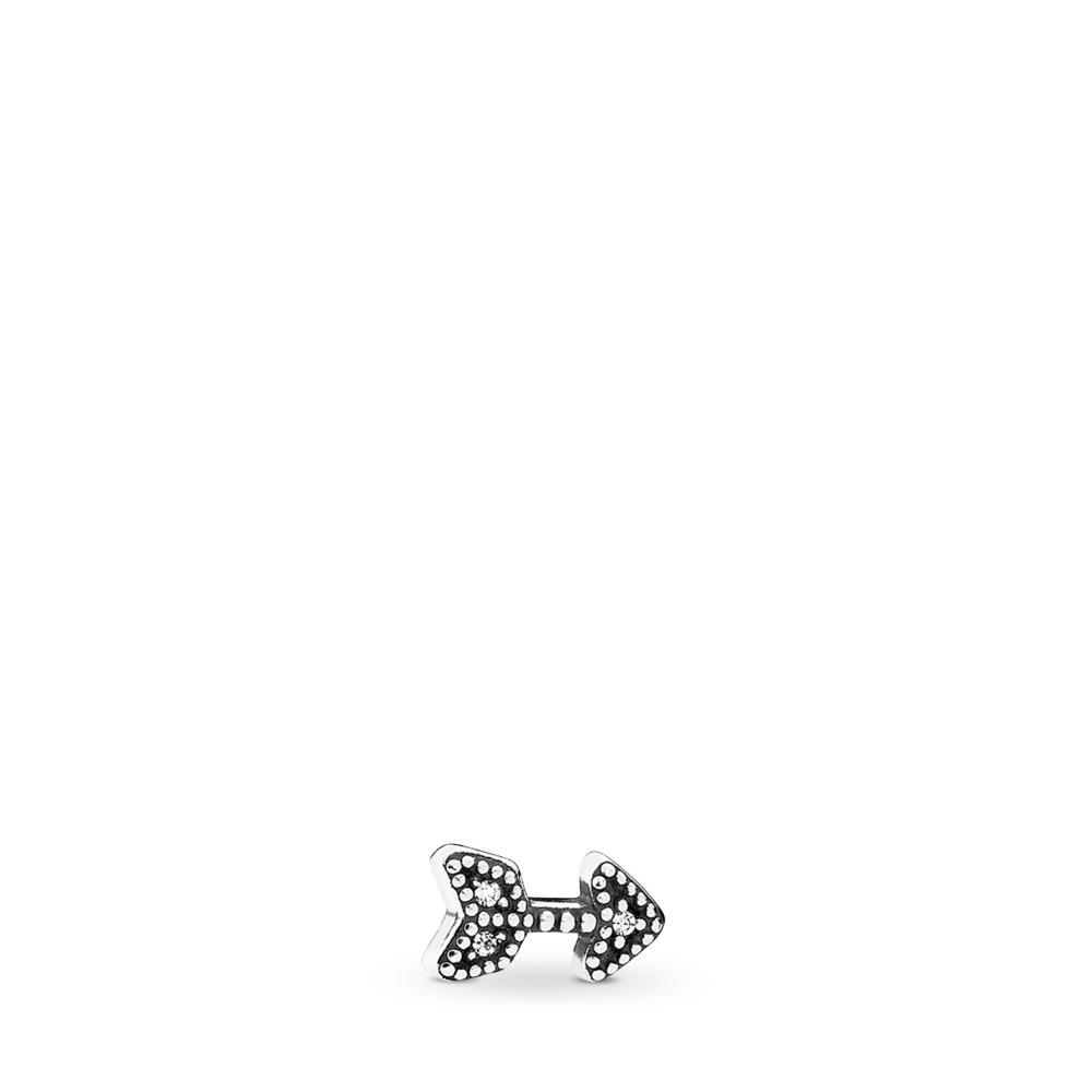 Sparkling Arrow Petite Locket Charm, Sterling silver, Clear, Cubic Zirconia - PANDORA - #792170CZ