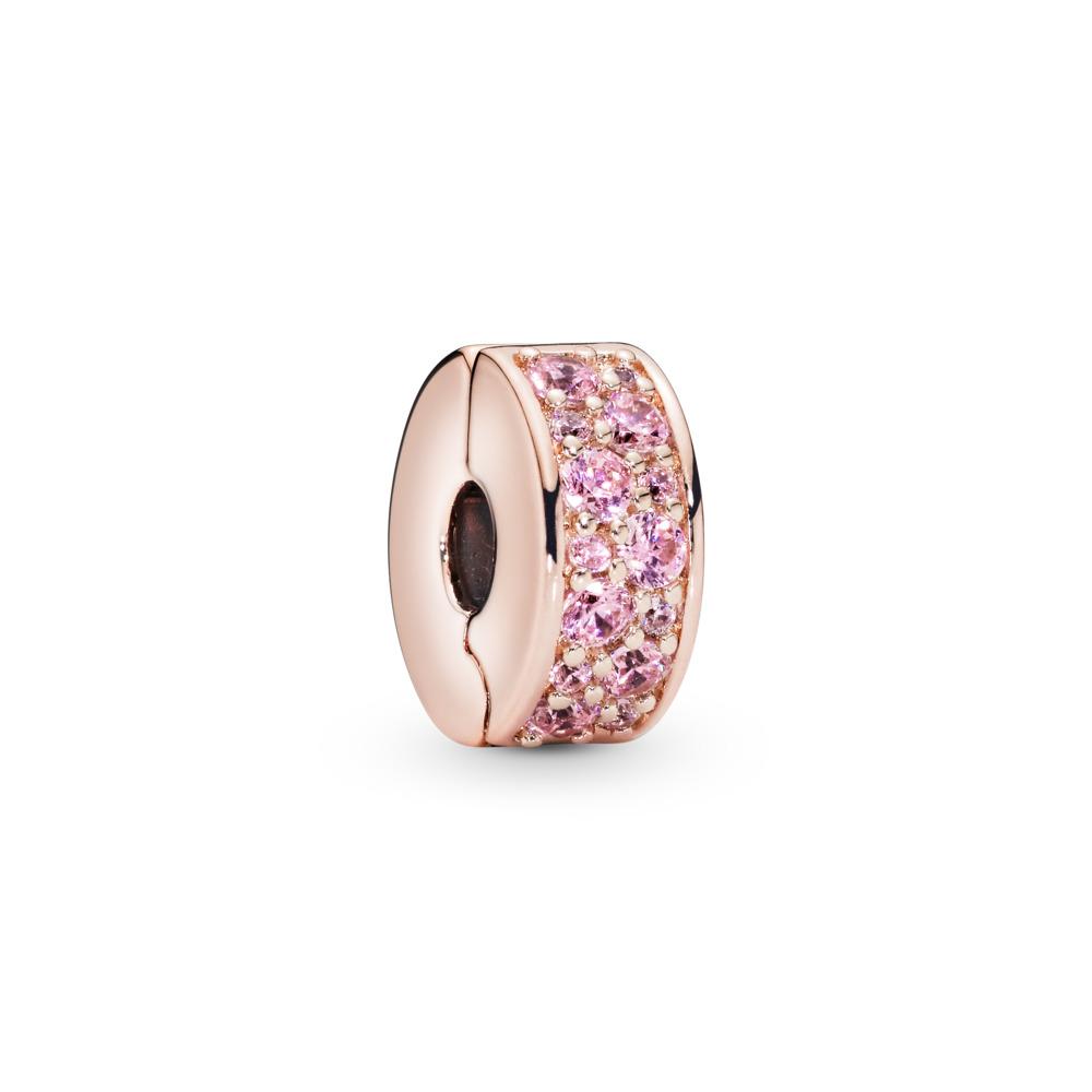 Shining Elegance Clip, PANDORA Rose™ & Pink CZ, PANDORA Rose, Silicone, Pink, Cubic Zirconia - PANDORA - #781817PCZ