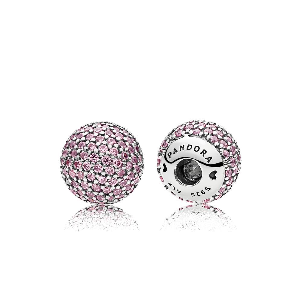 Pavé Open Bangle Caps, Pink CZ, Sterling silver, Pink, Cubic Zirconia - PANDORA - #796481PCZ