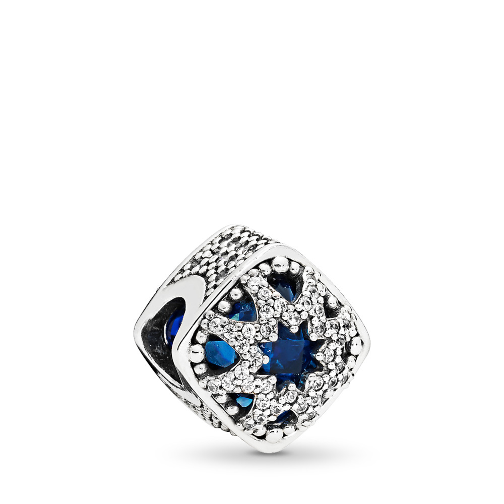 Glacial Beauty Charm, Swiss Blue Crystals & Clear CZ, Sterling silver, Blue, Mixed stones - PANDORA - #796360NSB