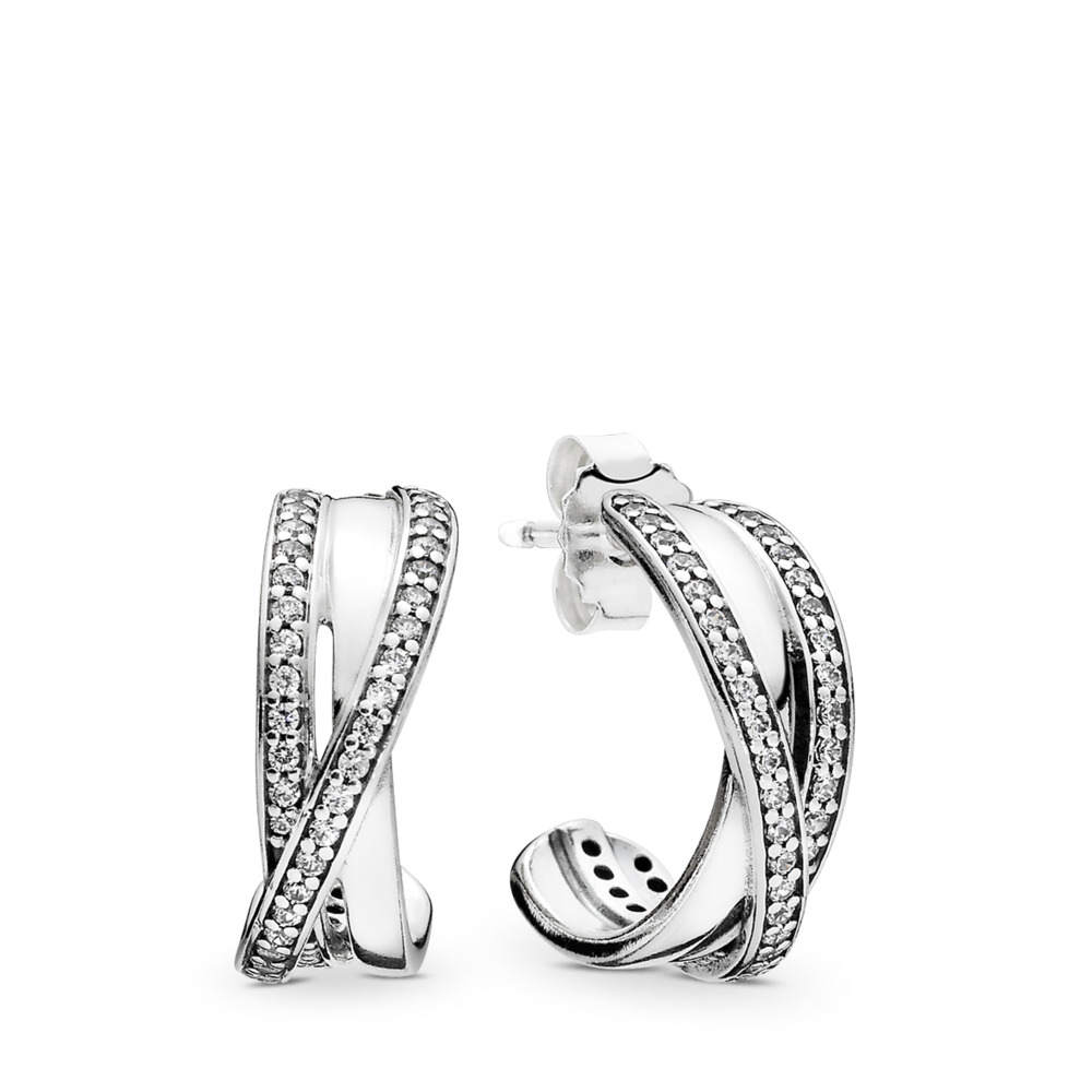 Entwined Hoop Earrings, Clear CZ, Sterling silver, Cubic Zirconia - PANDORA - #290730CZ
