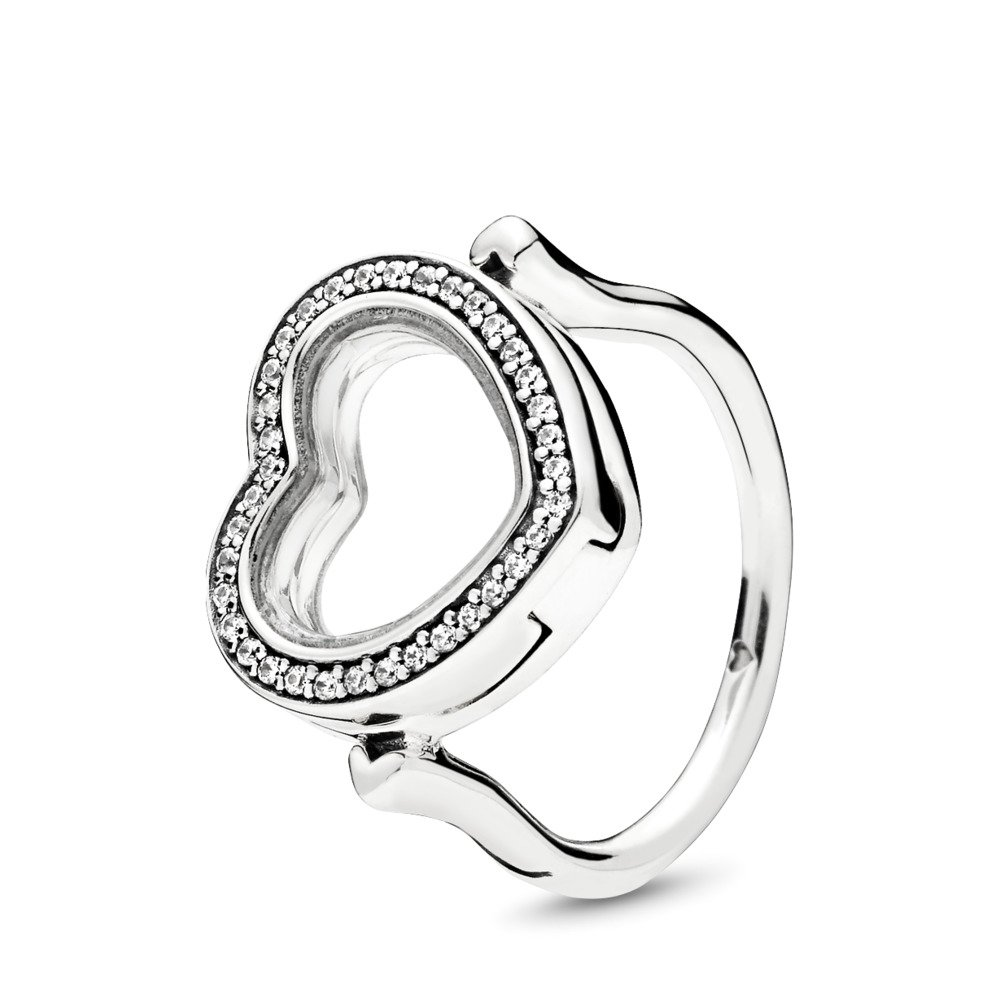Sparkling PANDORA Floating Heart Locket Ring, Clear CZ, Sterling silver, Glass, Cubic Zirconia - PANDORA - #197252CZ