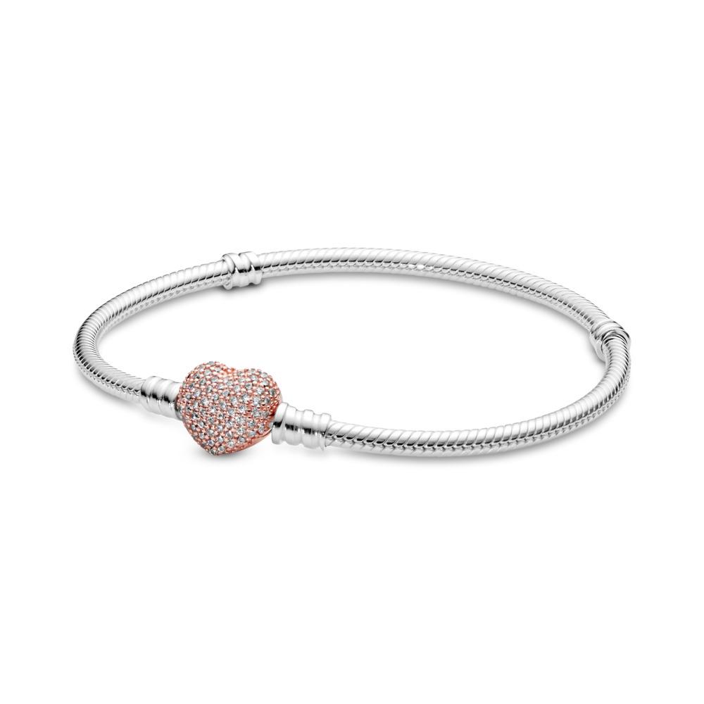 Sterling Silver Bracelet, PANDORA Rose™ Pavé Heart Clasp, PANDORA Rose with sterling silver, Cubic Zirconia - PANDORA - #586292CZ