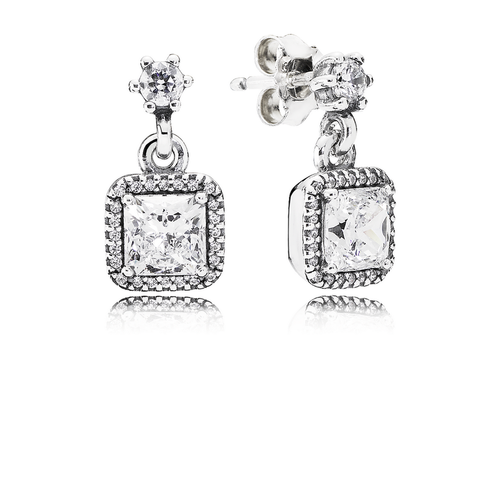 Timeless Elegance Drop Earrings, Clear CZ