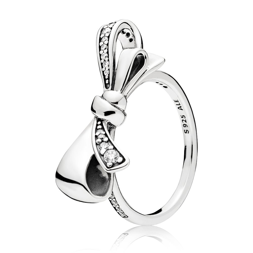 Brilliant Bow Ring, Clear CZ