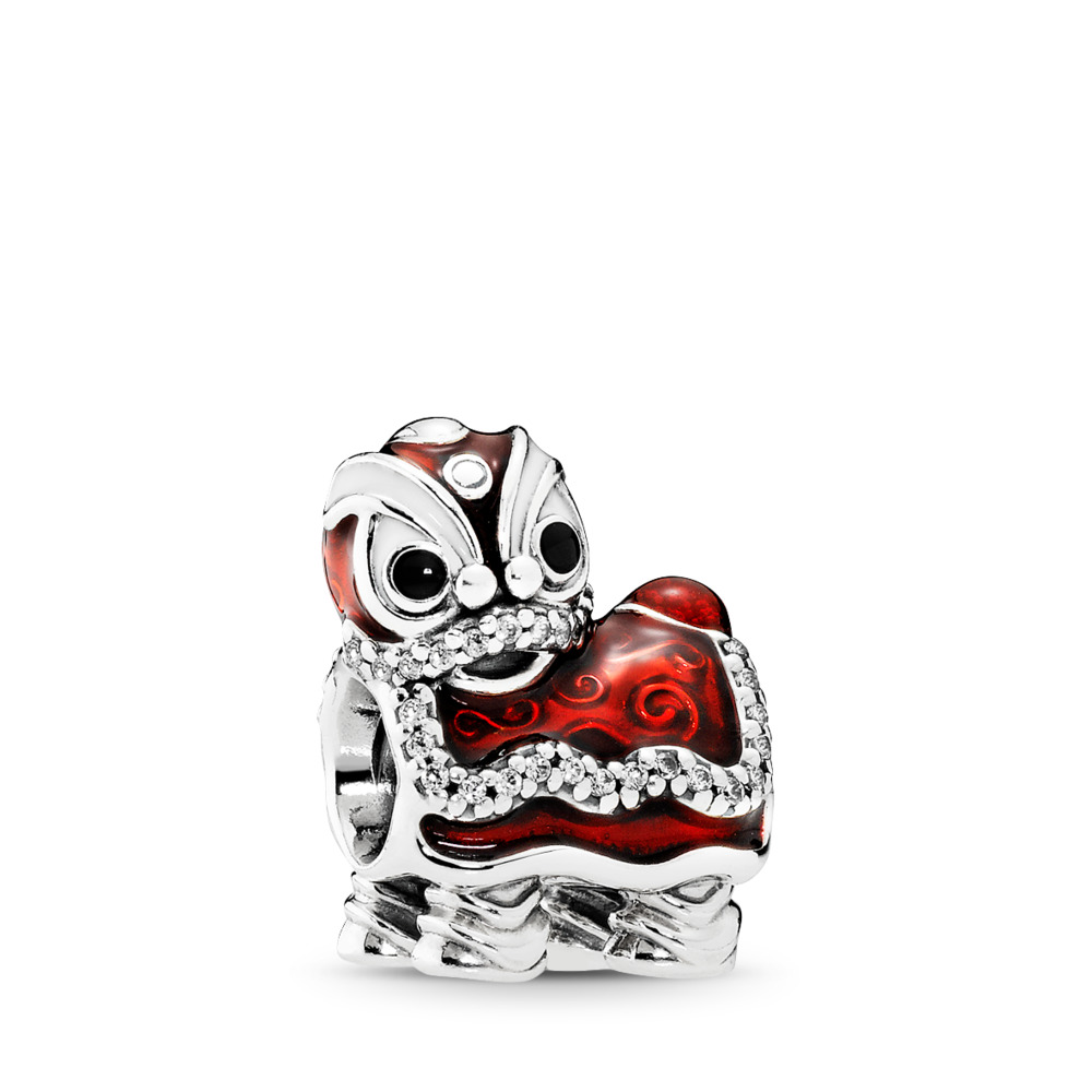 Chinese Lion Dance Charm, Mixed Enamel, Sterling silver, Enamel, Black, Cubic Zirconia - PANDORA - #792043CZ