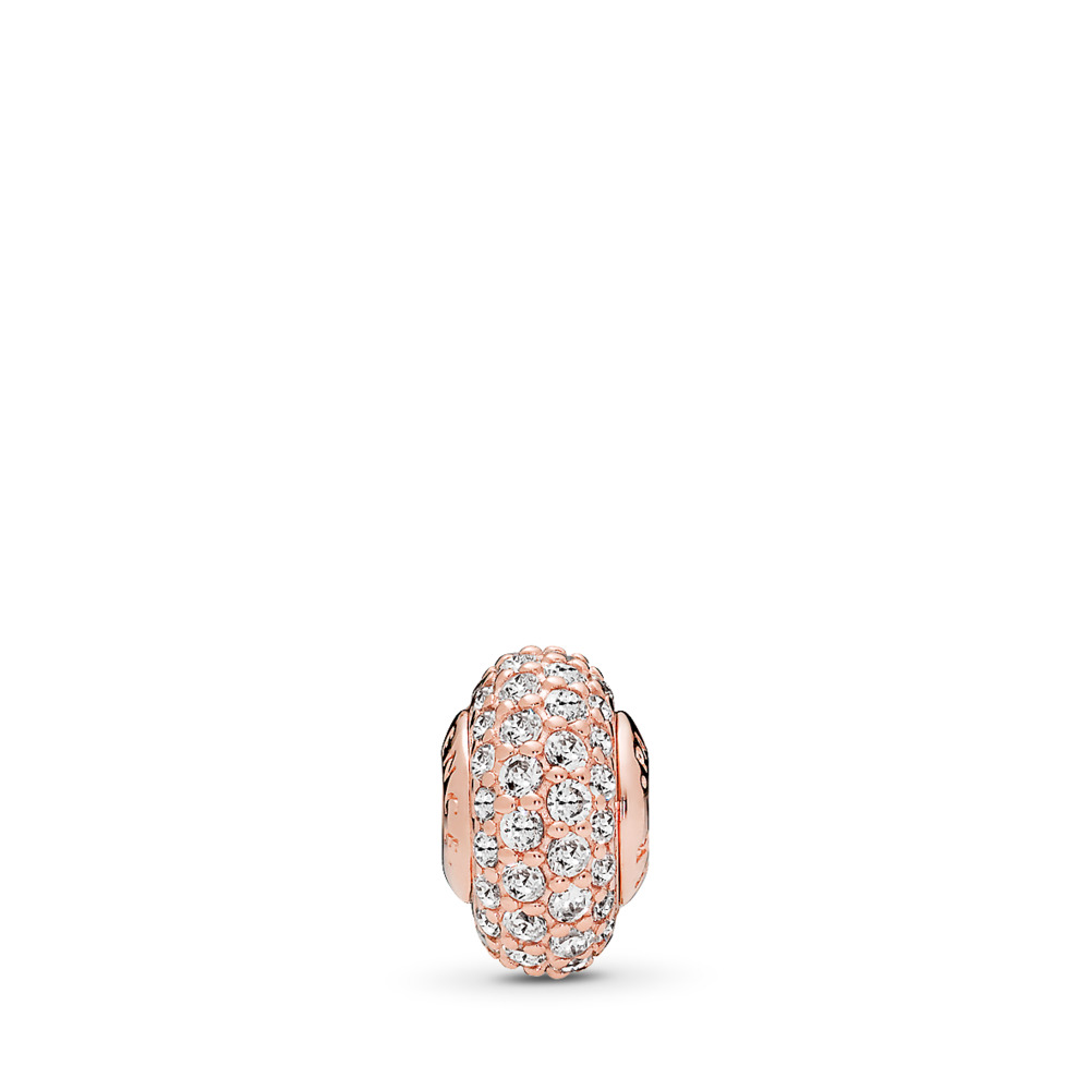 CONFIDENCE Charm, PANDORA Rose™ & Clear CZ, PANDORA Rose, Silicone, Cubic Zirconia - PANDORA - #786304CZ