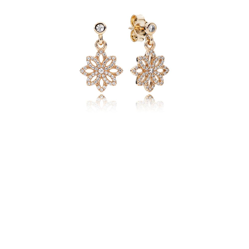e2bfcfa86 Lace Botanique Drop Earrings, Clear CZ & 14K Gold, Yellow Gold 14 k,