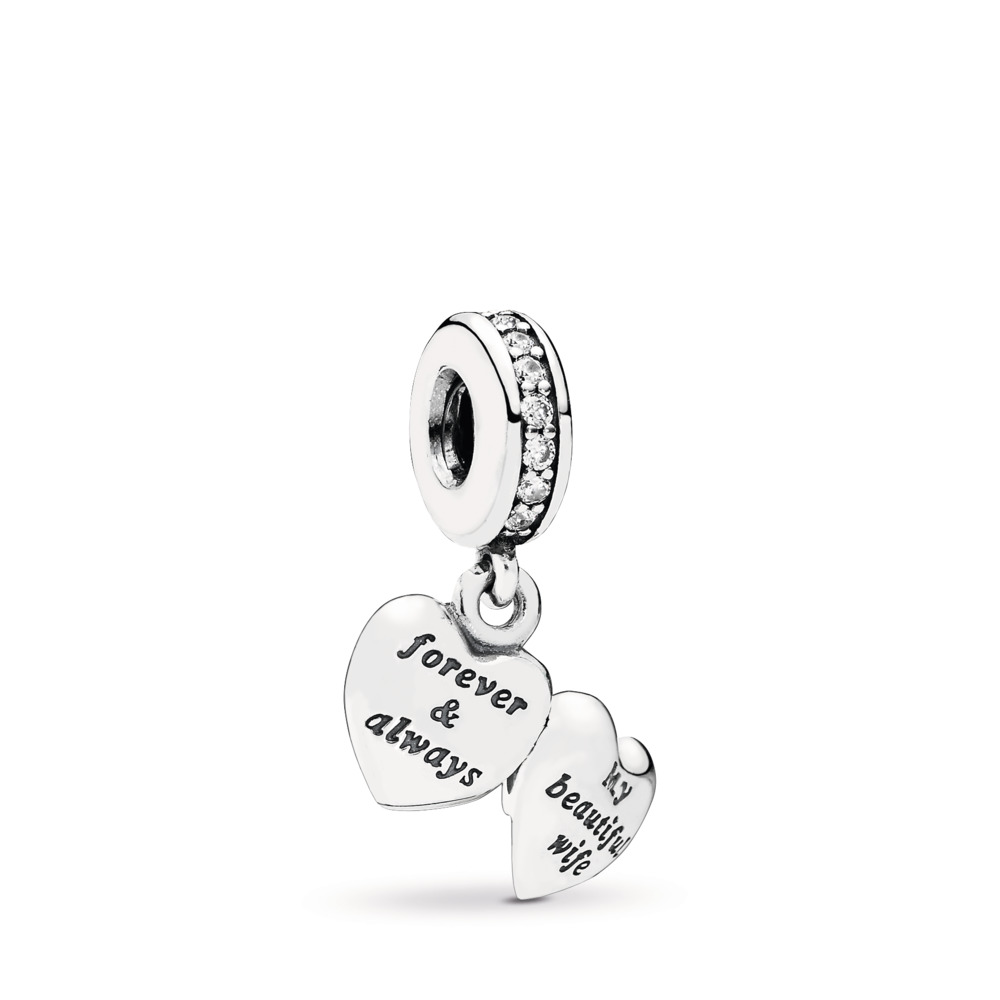 My Beautiful Wife Dangle Charm, Clear CZ, Sterling silver, Cubic Zirconia - PANDORA - #791524CZ