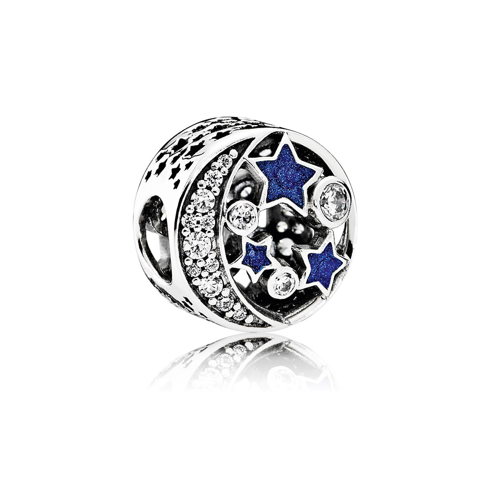 Vintage Night Sky Charm, Shimmering Midnight Blue Enamel & Clear CZ