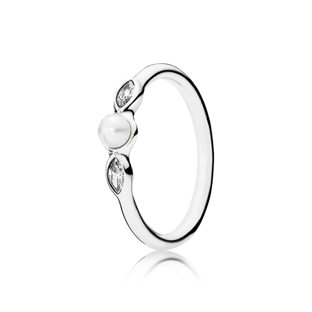 Petite Luminous Leaves Ring, White Pearl & Clear CZ