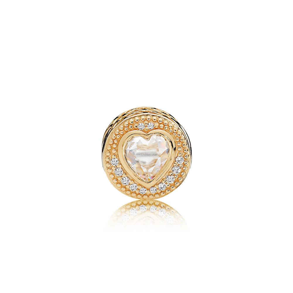 LOVE Charm, 14K Gold & Clear CZ
