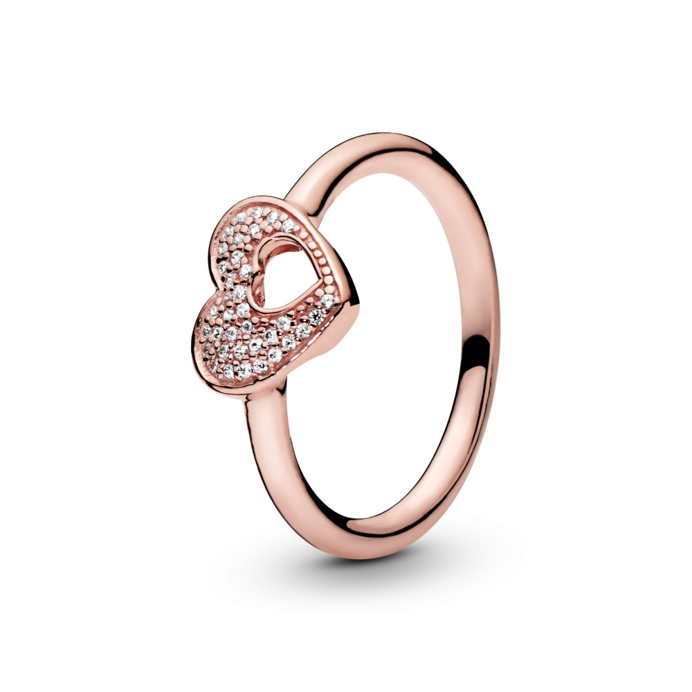 Shimmering Puzzle Heart Frame Ring, PANDORA Rose™ & Clear CZ, PANDORA Rose, Cubic Zirconia - PANDORA - #186550CZ