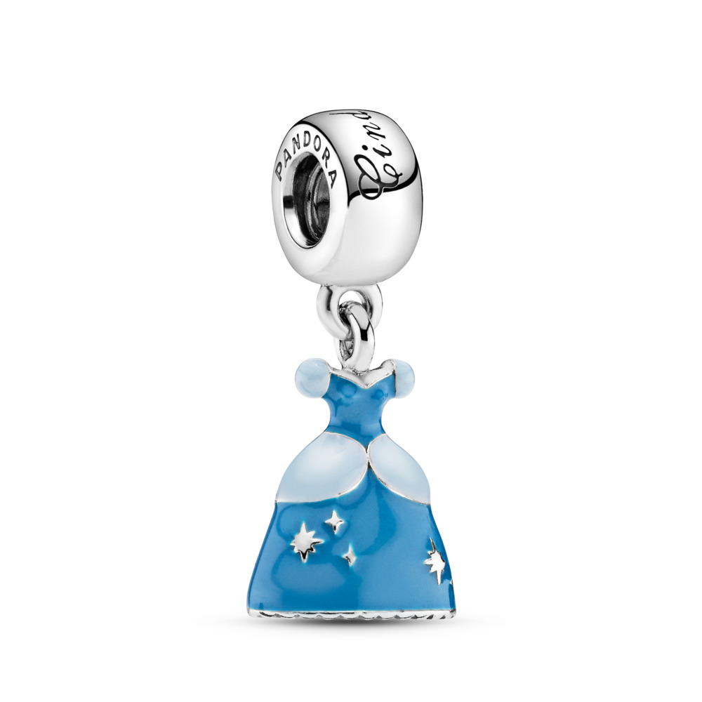 Disney, Cinderella's Dress Dangle Charm, Mixed Enamel, Sterling silver, Enamel, Blue - PANDORA - #791578ENMX