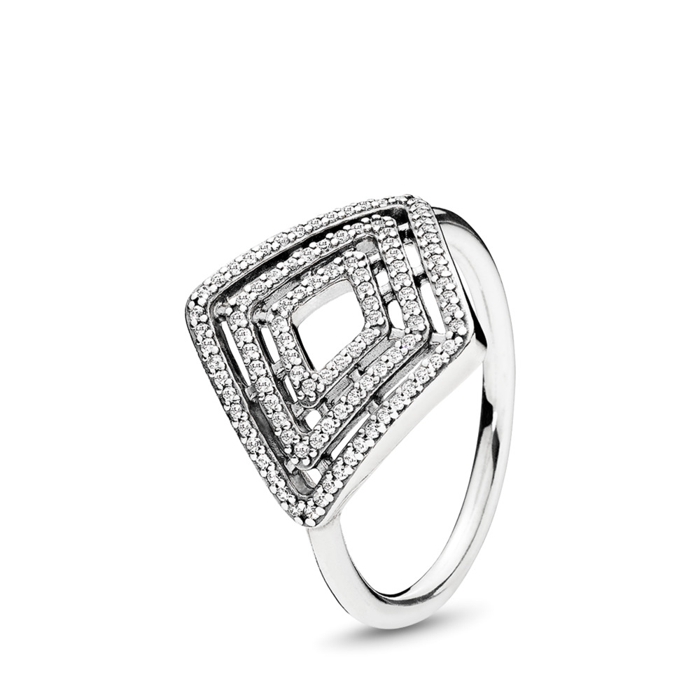 Geometric Lines Ring, Clear CZ, Sterling silver, Cubic Zirconia - PANDORA - #196210CZ