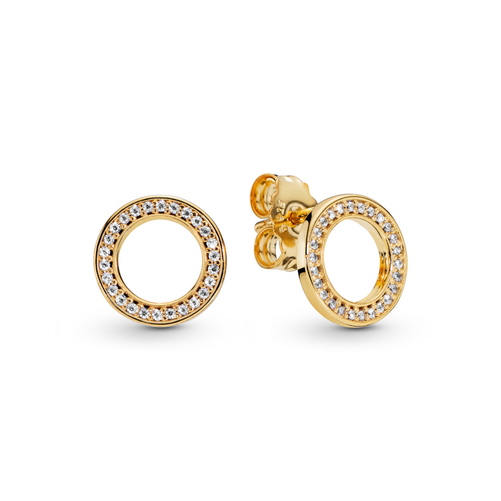 PANDORA Forever Stud Earrings, PANDORA Shine™ & Clear CZ, 18ct Gold Plated, Cubic Zirconia - PANDORA - #267112CZ
