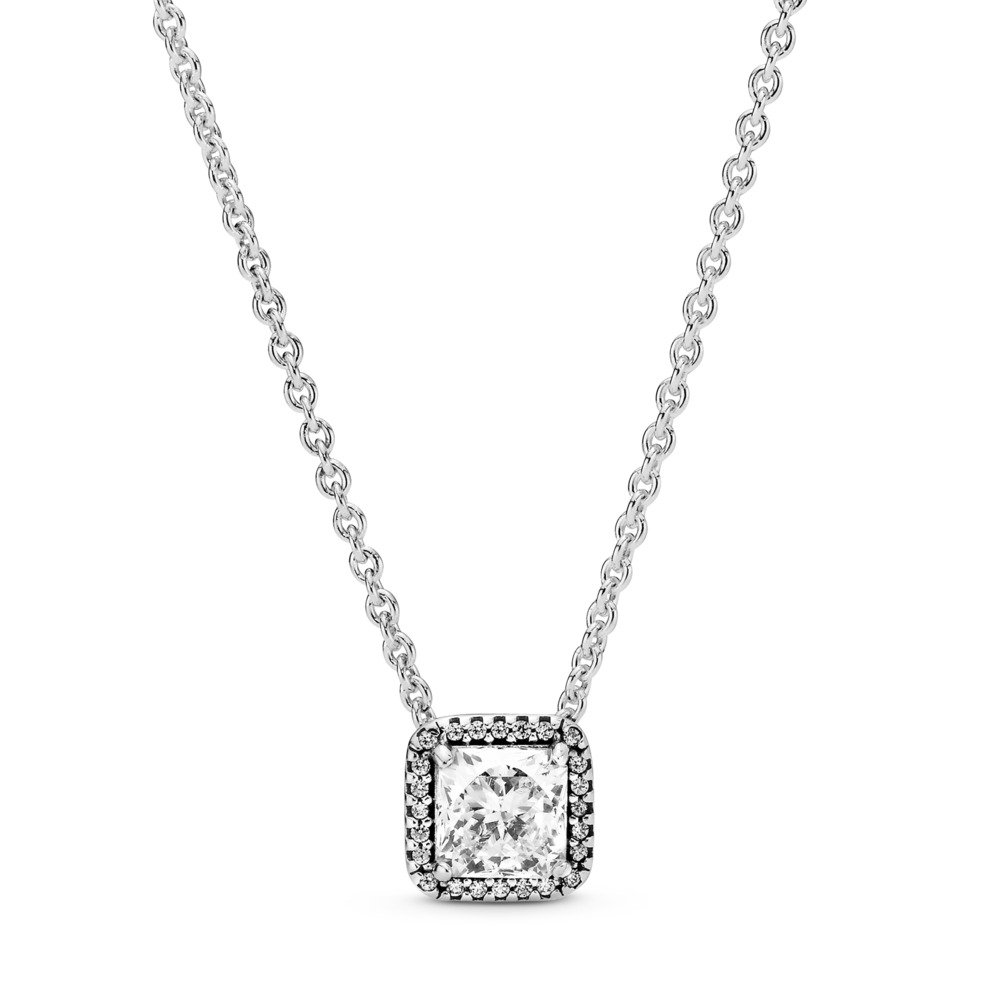 Timeless Elegance Necklace, Clear CZ, Sterling silver, Cubic Zirconia - PANDORA - #396241CZ