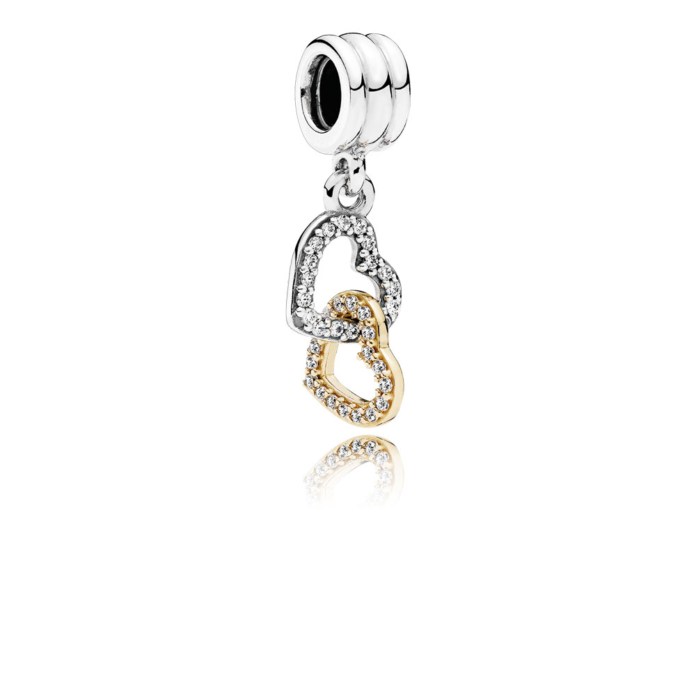 Interlocked Hearts Dangle Charm