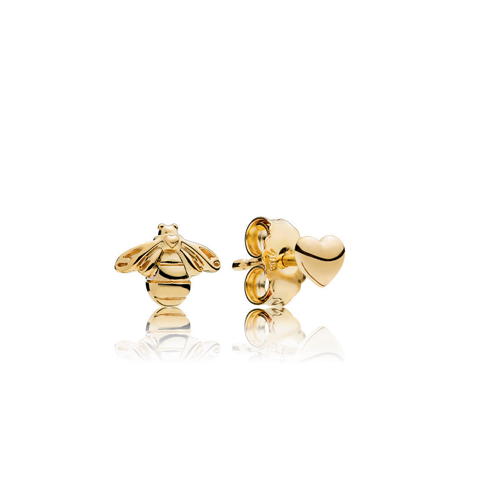 Heart & Bee Stud Earrings, PANDORA Shine™