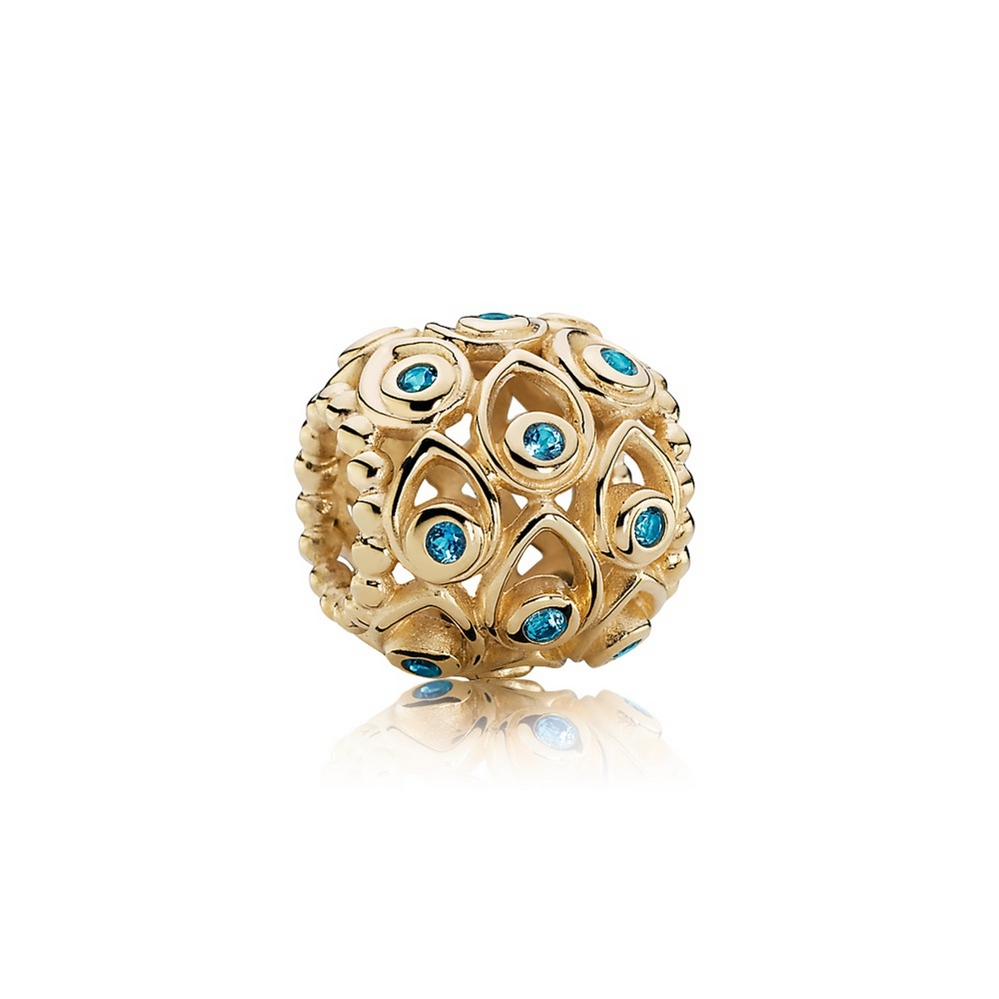 Ocean Treasures Charm, Deep Blue Topaz & 14K Gold