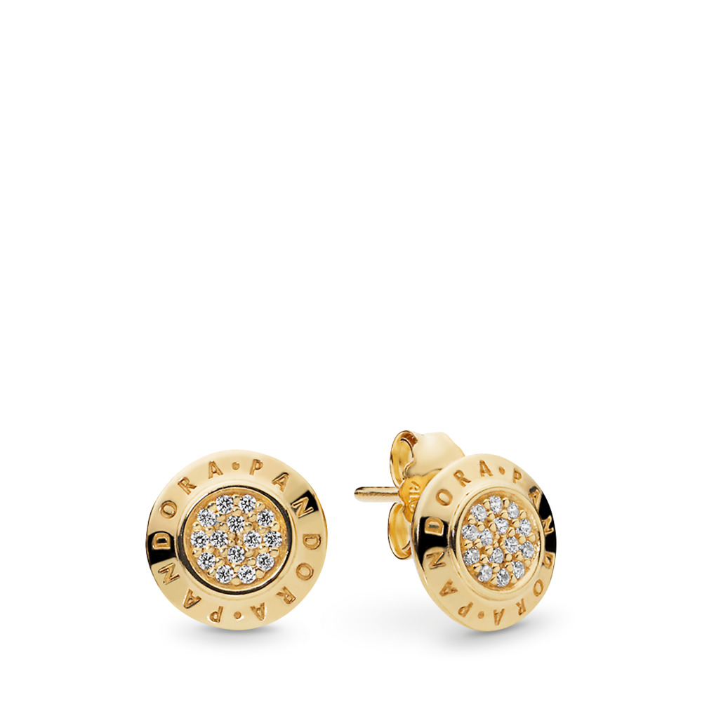 PANDORA Signature Earrings, PANDORA Shine™ & Clear CZ, 18ct Gold Plated, Cubic Zirconia - PANDORA - #260559CZ