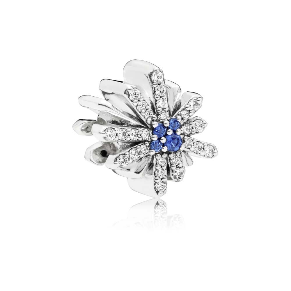 Dazzling Fireworks Charm, Clear CZ & Blue Crystal