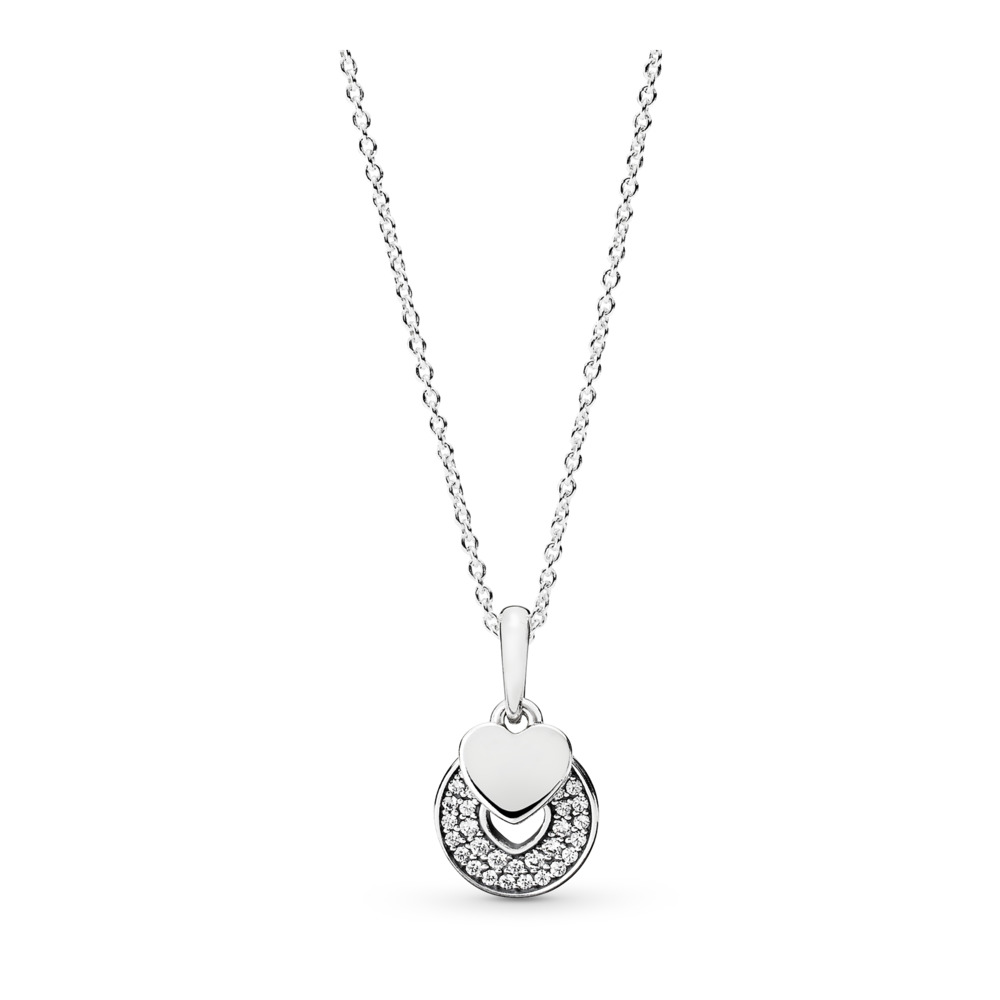 Celebration Hearts Pendant Necklace, Clear CZ, Sterling silver, Silicone, Cubic Zirconia - PANDORA - #390404CZ