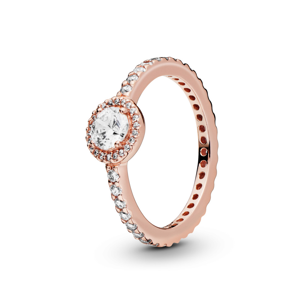 Classic Elegance Ring, PANDORA Rose™ & Clear CZ, PANDORA Rose, Cubic Zirconia - PANDORA - #180946CZ