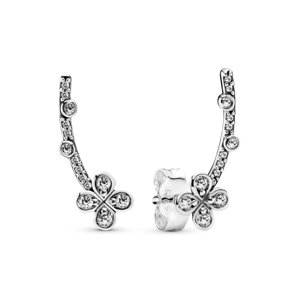 Draped Four-Petal Flower Earrings, Sterling silver, Cubic Zirconia - PANDORA - #297936CZ