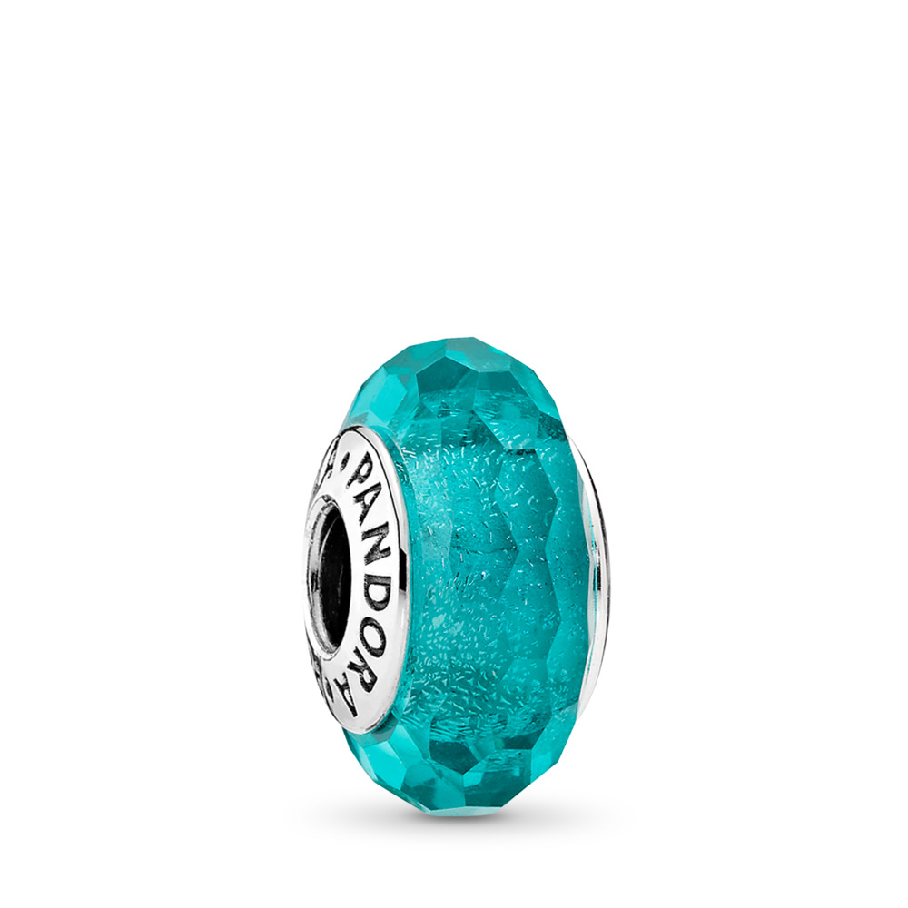 Teal Shimmer Charm, Murano Glass, Sterling silver, Glass, Turquoise - PANDORA - #791655