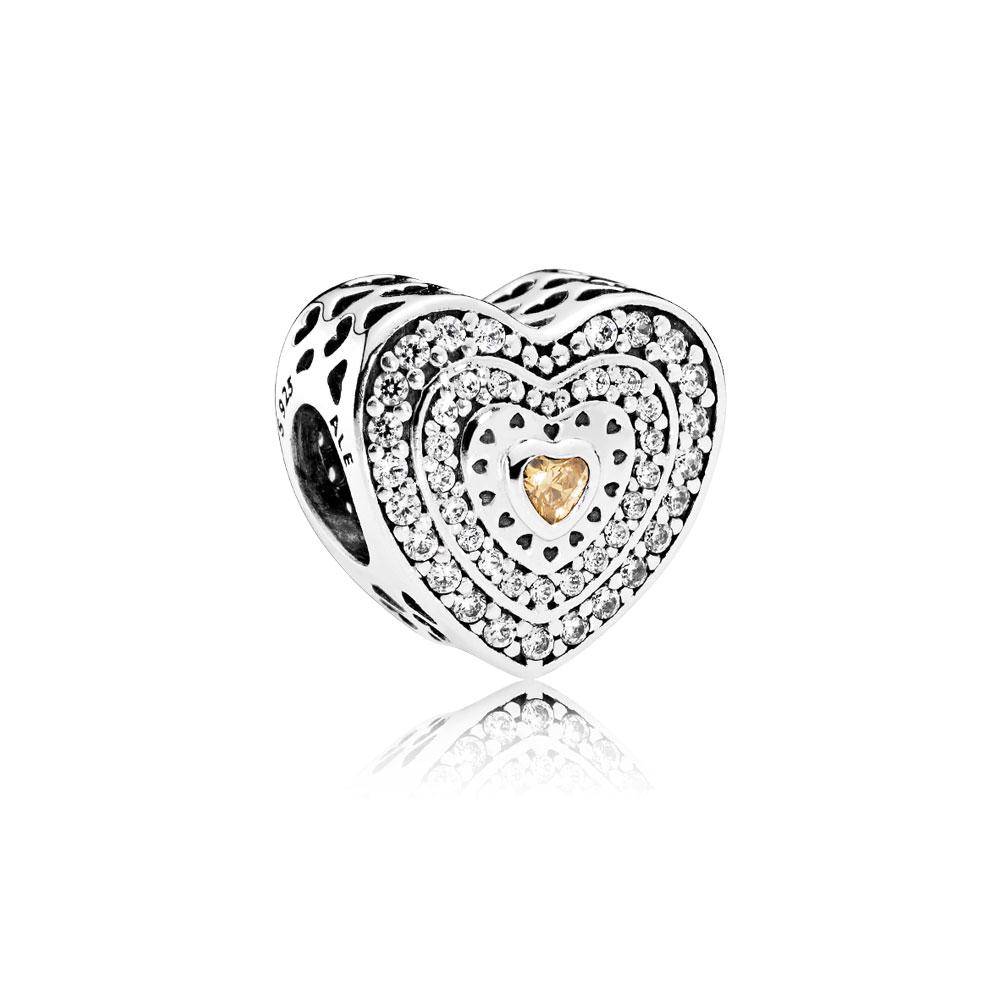 Lavish Heart Charm, Fancy-Colored & Clear CZ