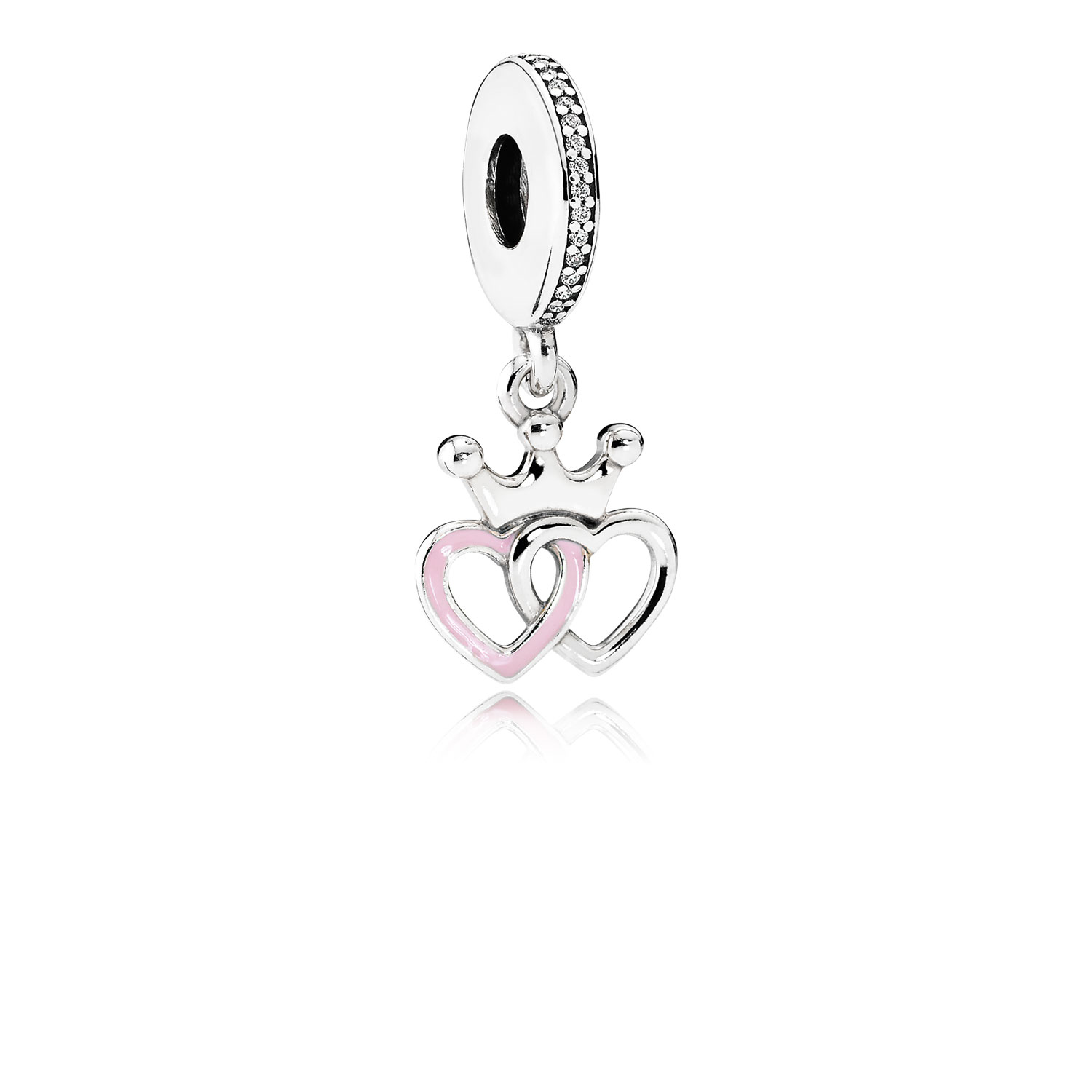 Crowned Hearts Dangle Charm, Orchid Pink Enamel & Clear CZ