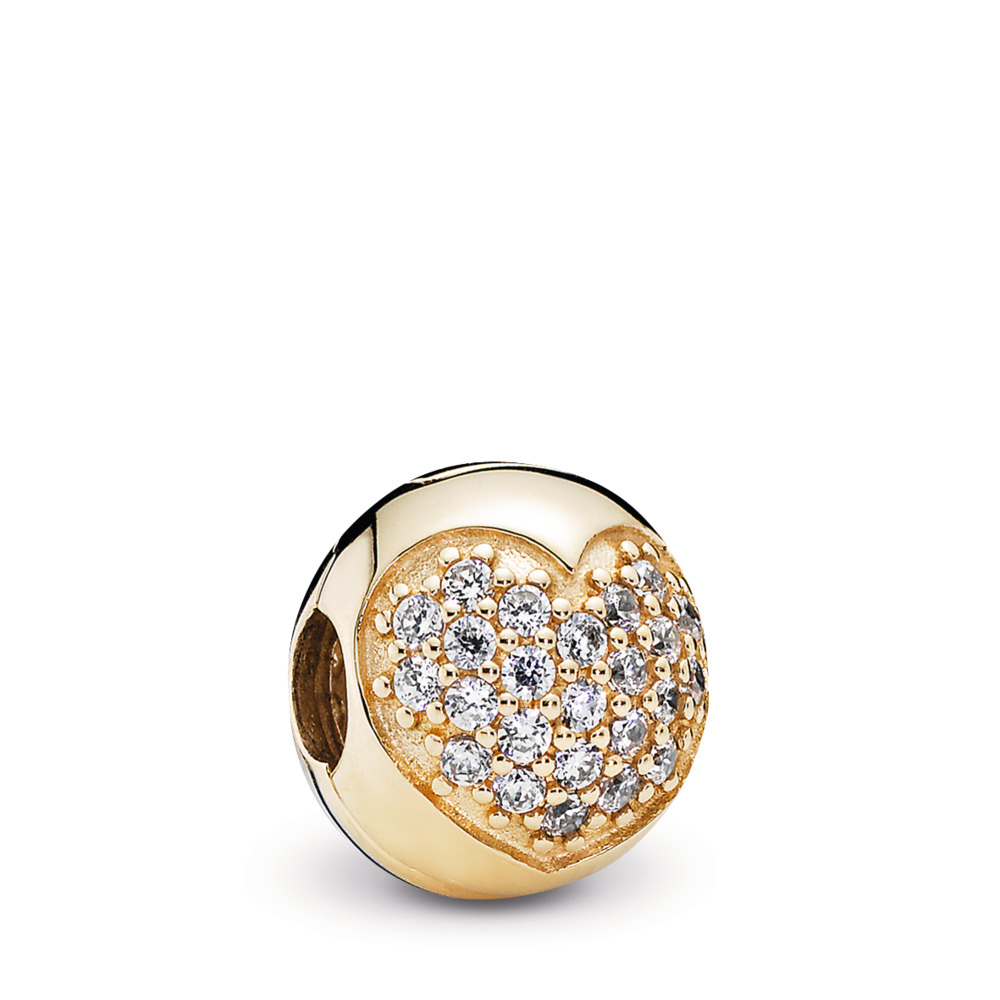 Love Of My Life Clip, Clear CZ & 14K Gold, Yellow Gold 14 k, Cubic Zirconia - PANDORA - #750832CZ