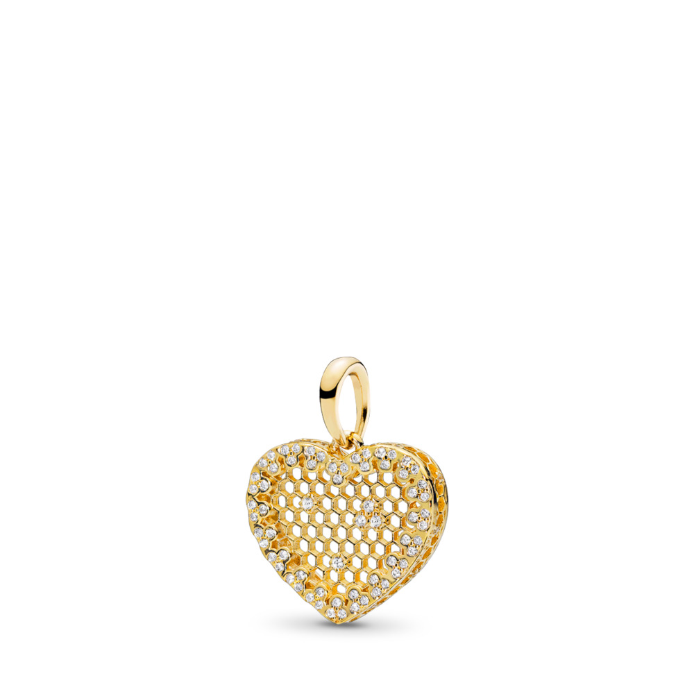 Honeycomb Lace Pendant, PANDORA Shine™ & Clear CZ, 18ct Gold Plated, Cubic Zirconia - PANDORA - #367111CZ