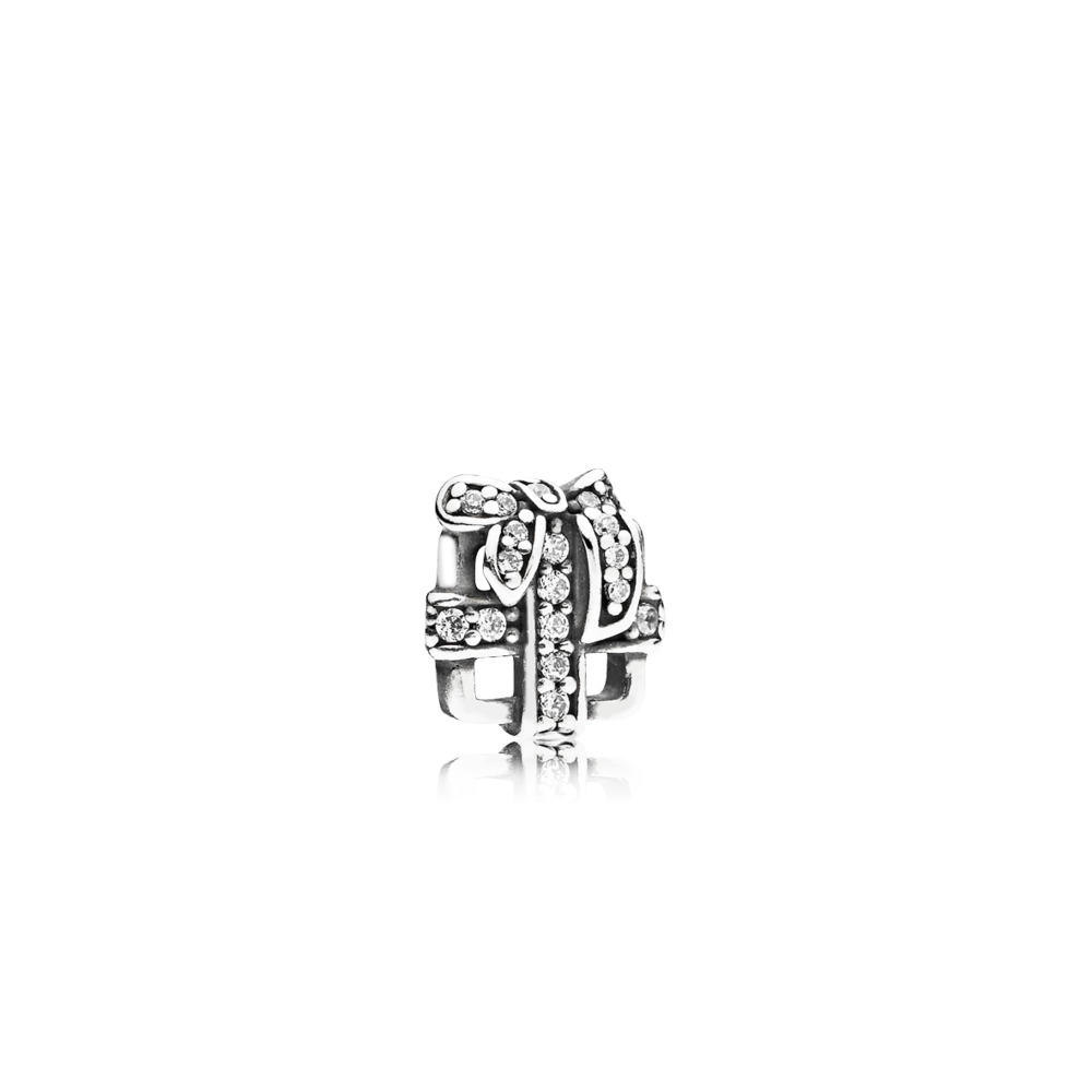 Precious Gift Petite Locket Charm, Sterling silver, Cubic Zirconia - PANDORA - #792167CZ