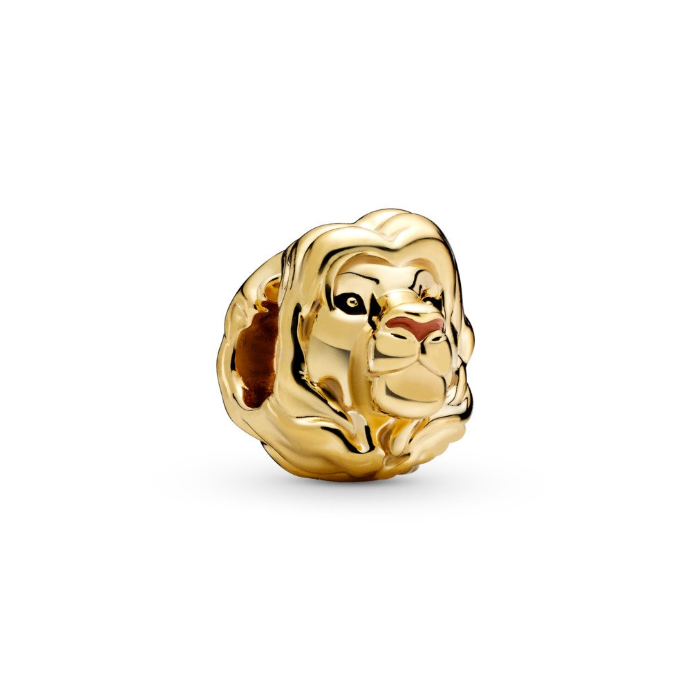 LIMITED EDITION Disney, The Lion King Simba Charm, Pandora Shine™, 18ct Gold Plated, Enamel, Black - PANDORA - #768049ENMX