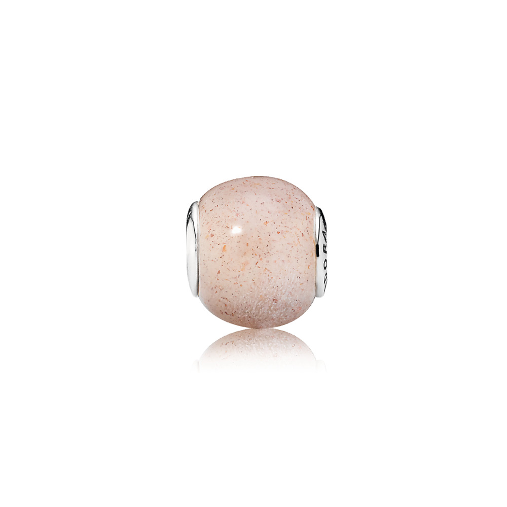 LOVE Charm, Pink Moonstone, Sterling silver, Silicone, Pink, Moonstone - PANDORA - #796009MSP