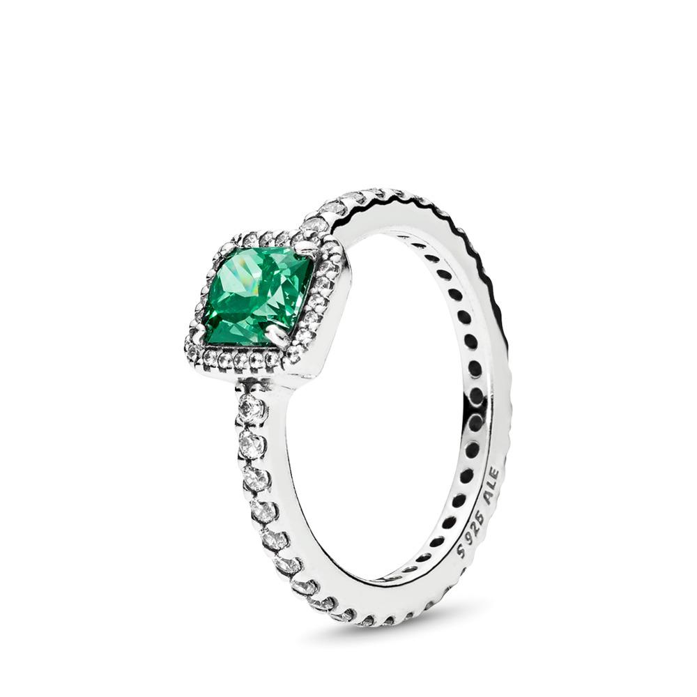 Timeless Elegance, Green & Clear CZ, Sterling silver, Green, Cubic Zirconia - PANDORA - #190947GCZ