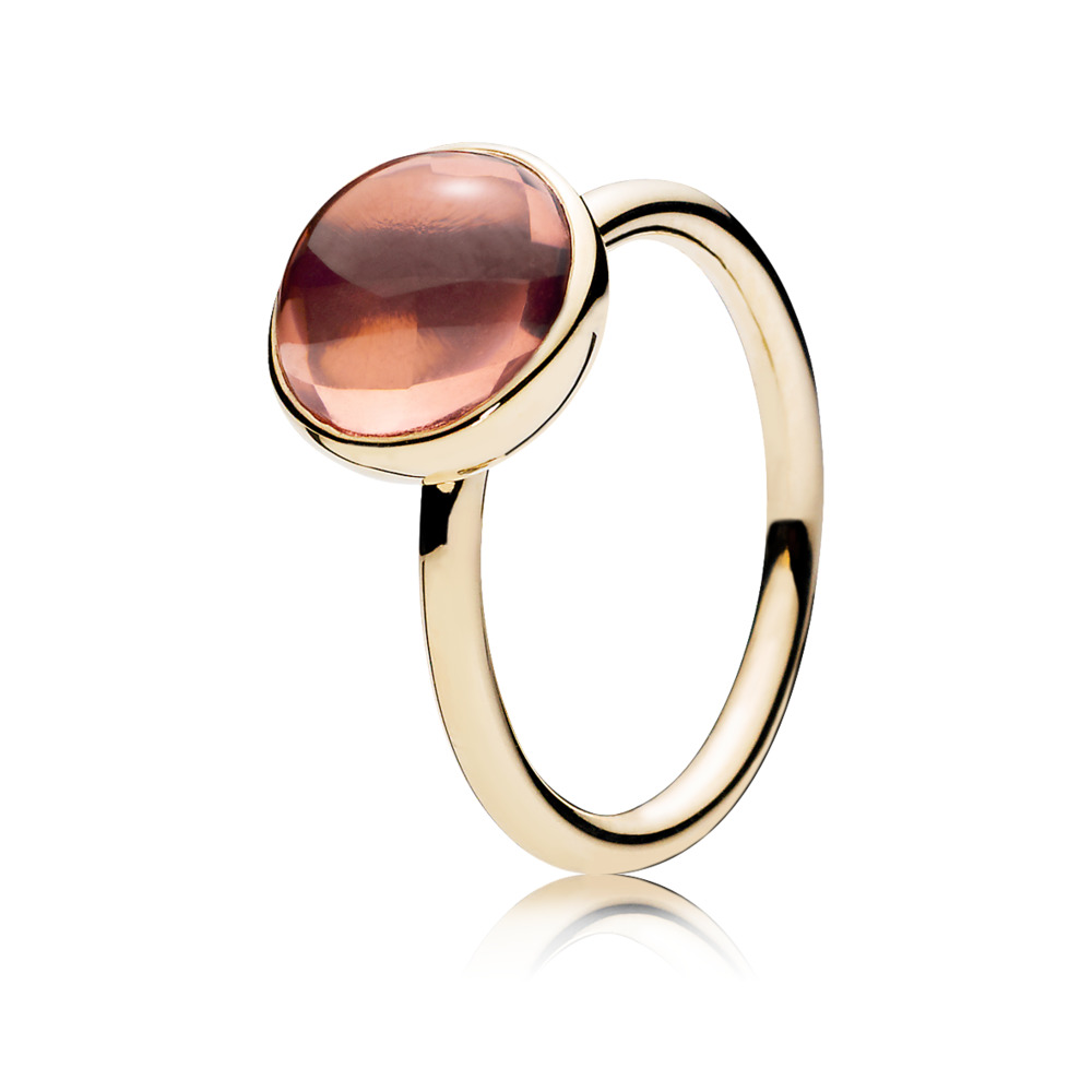 Poetic Droplet Ring, 14K Gold & Blush Pink Crystal, Yellow Gold 14 k, Pink, Crystal - PANDORA - #150185NBP