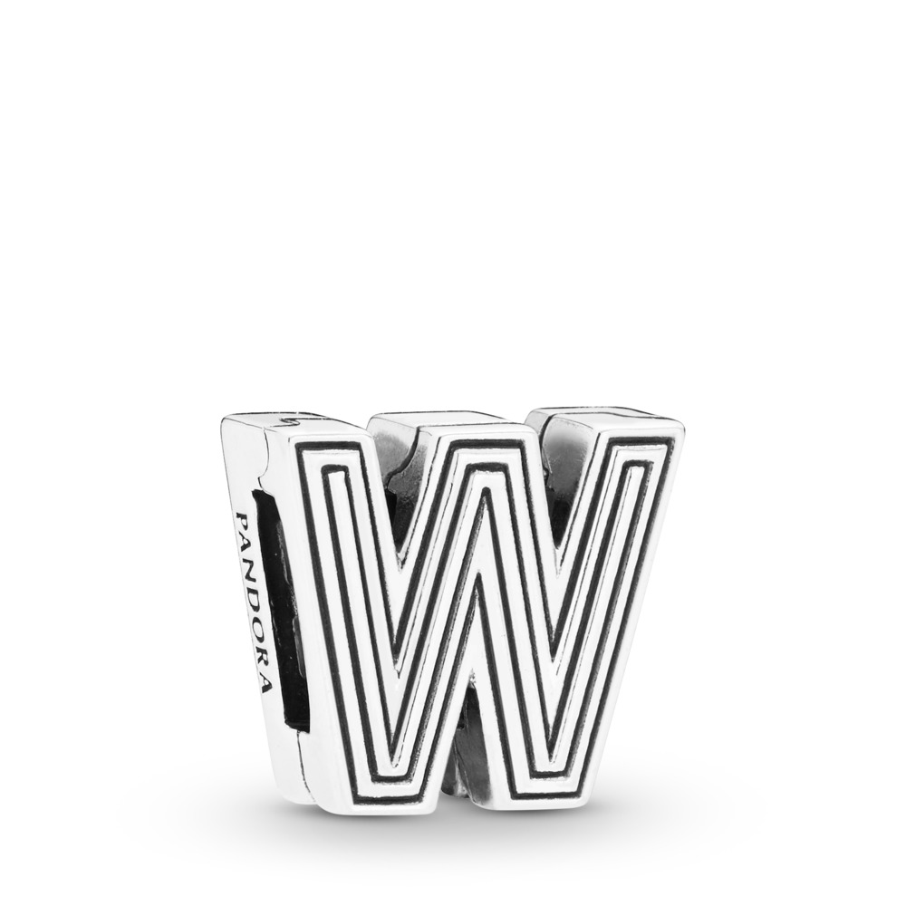 Pandora Reflexions™ Letter W Clip Charm, Sterling silver, Silicone - PANDORA - #798219