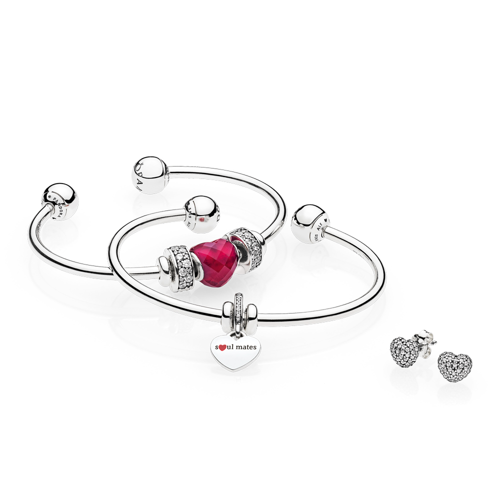 Stacked Open Bangle Gift Set with Soul Mate Dangle Charm