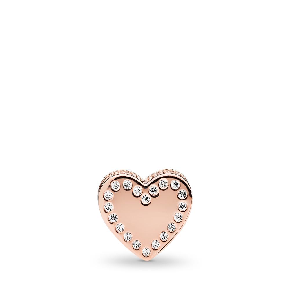 DEDICATION Charm, PANDORA Rose™ & Clear CZ, PANDORA Rose, Silicone, Cubic Zirconia - PANDORA - #786305CZ