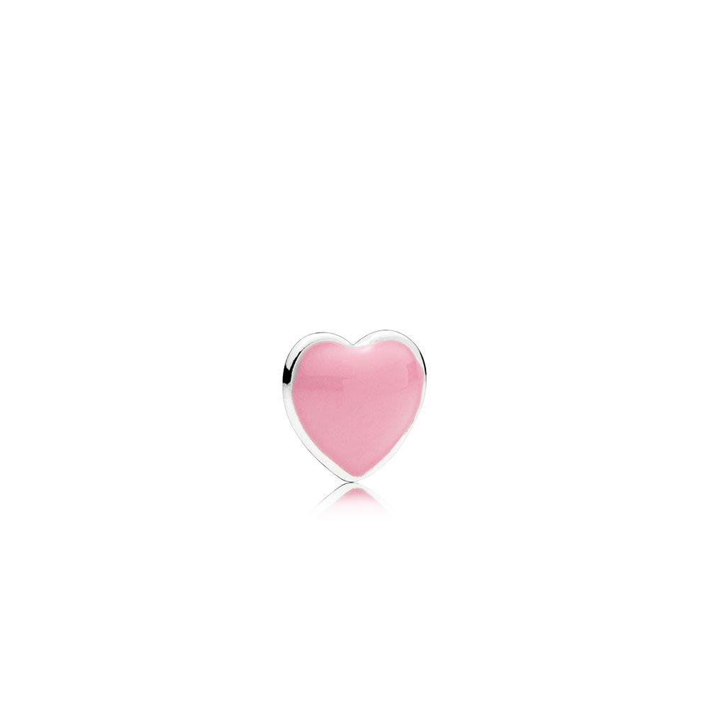Pink Heart Petite Locket Charm, Pink Enamel