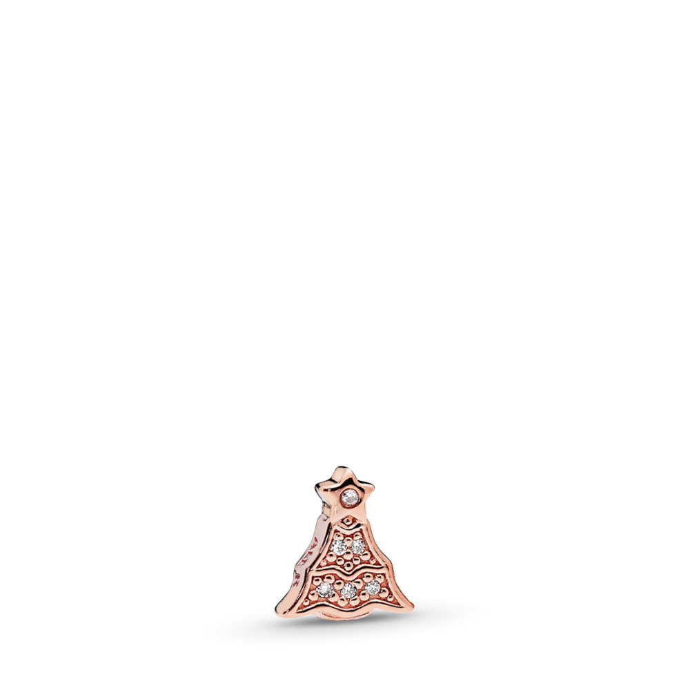 Twinkling Christmas Tree Petite Locket Charm, PANDORA Rose™ & Clear CZ, PANDORA Rose, Cubic Zirconia - PANDORA - #786399CZ