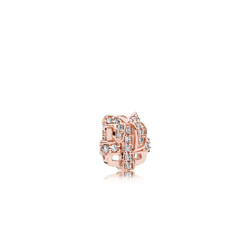 All Wrapped Up Petite Locket Charm, PANDORA Rose™ & Clear CZ