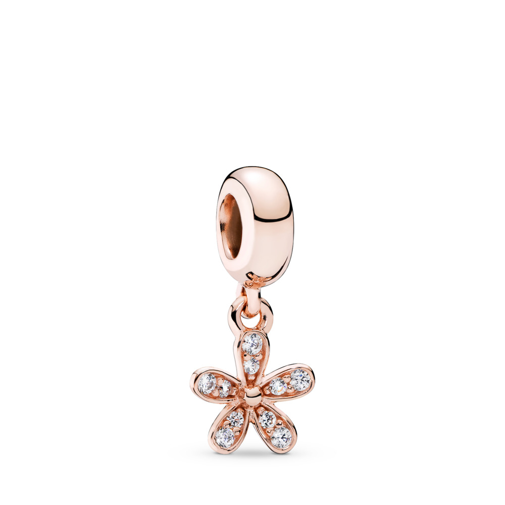 Dazzling Daisy Dangle Charm, PANDORA Rose™ & Clear CZ, PANDORA Rose, Cubic Zirconia - PANDORA - #781491CZ