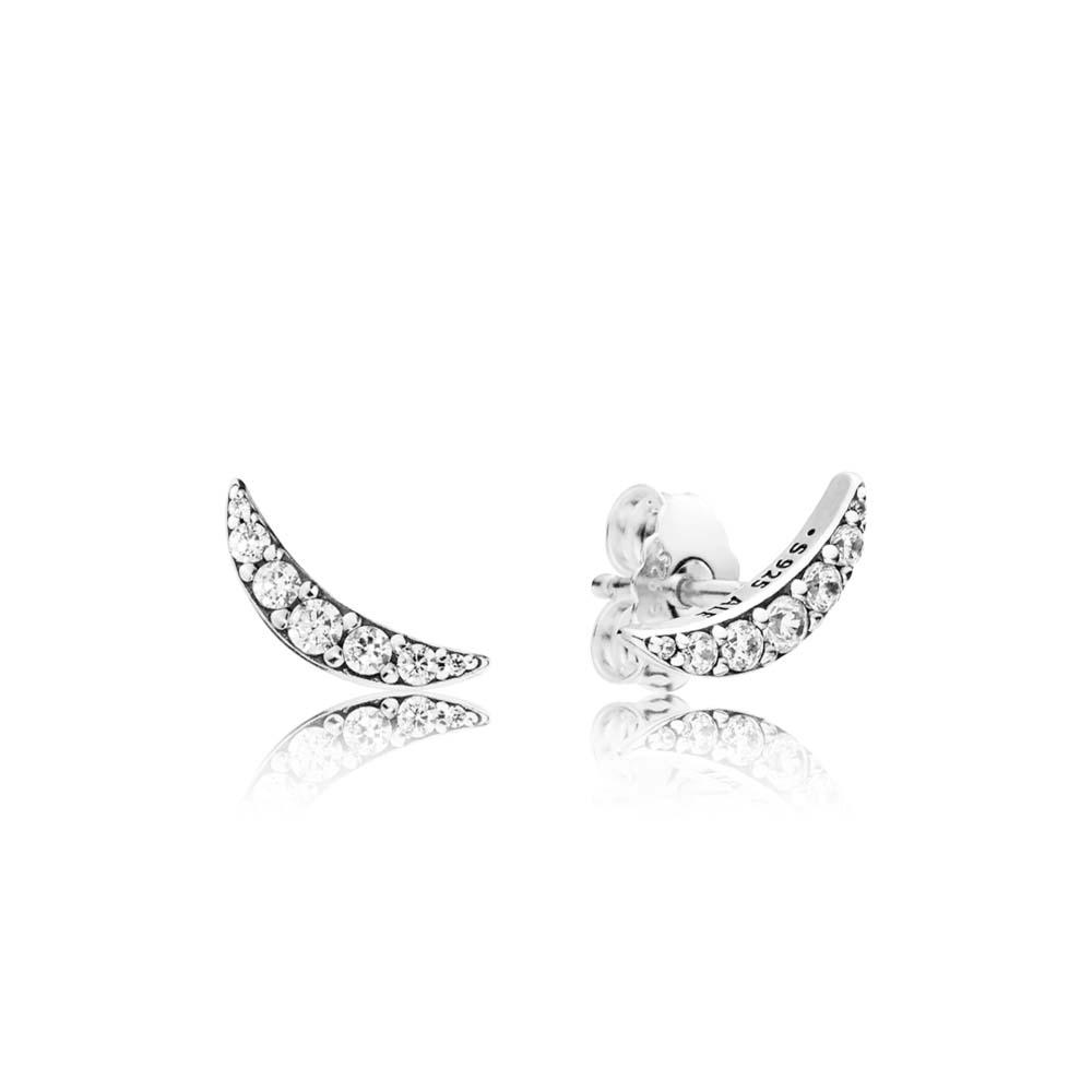 Lunar Light Stud Earrings, Clear CZ