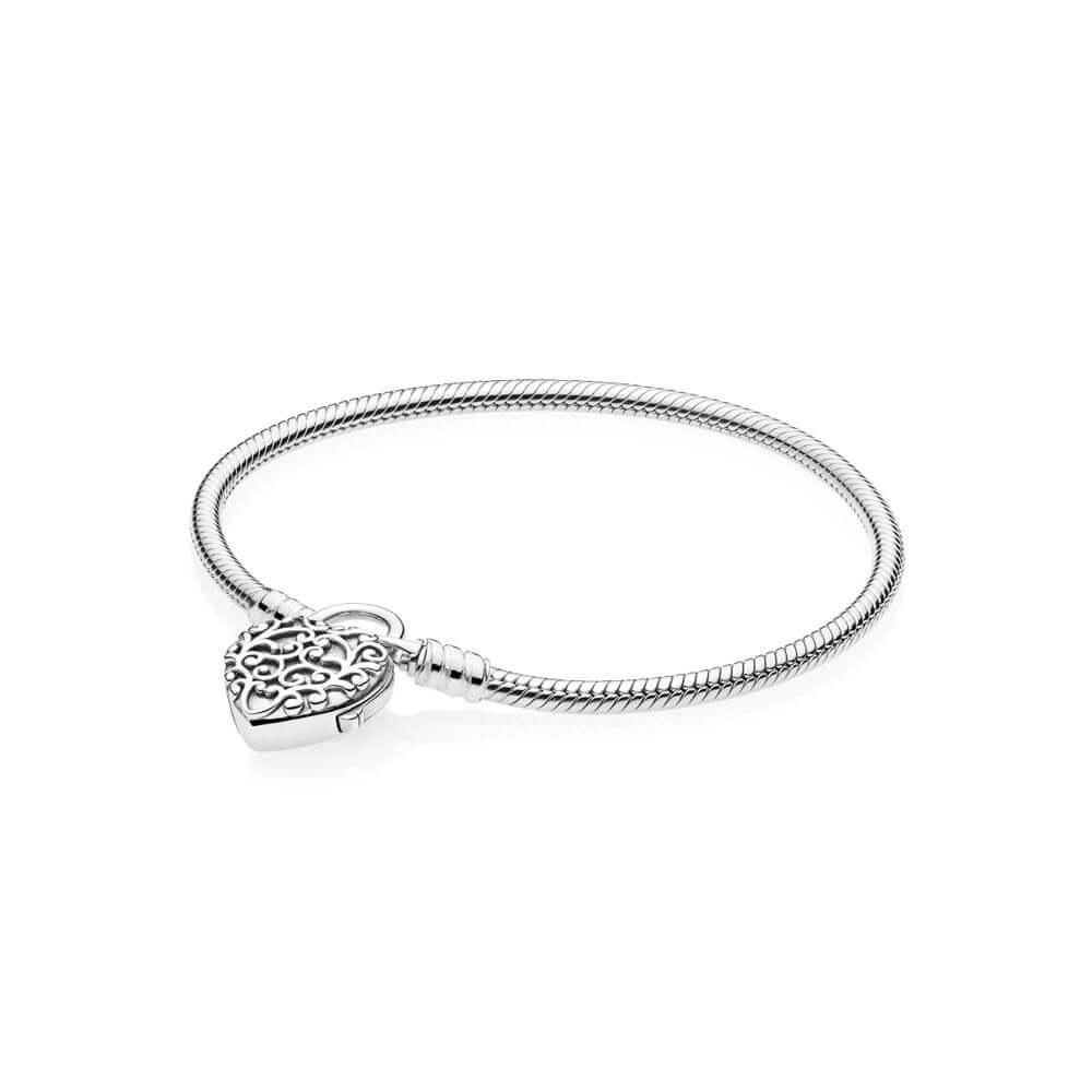 Smooth Silver Padlock Bracelet, Regal Heart