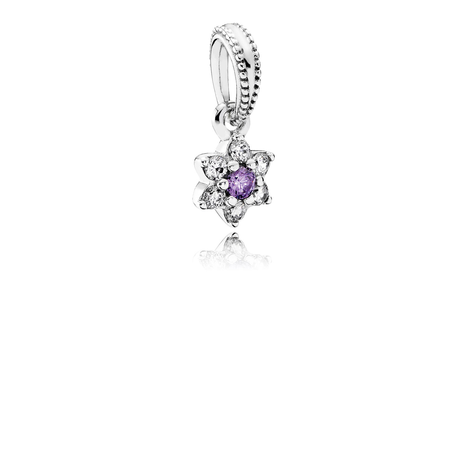 Forget Me Not Dangle Charm, Purple & Clear CZ
