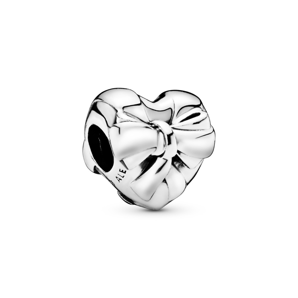 Brilliant Heart Bow Charm, Sterling silver - PANDORA - #797303